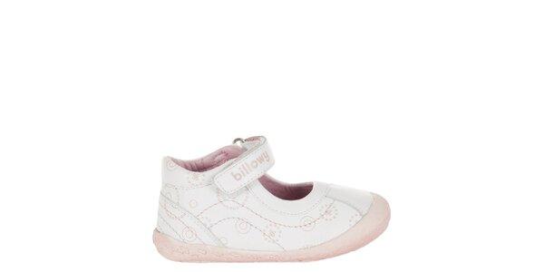 Dětské bílé kožené botičky Billowy s růžovým potiskem