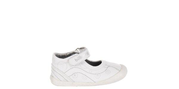 Dětské bílé kožené botičky Billowy se stříbrným potiskem