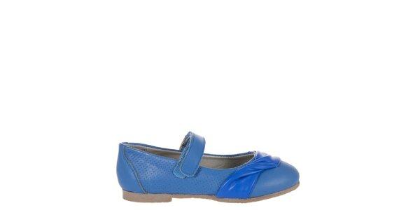 Dětské zářivě modré kožené botičky Billowy s aplikací