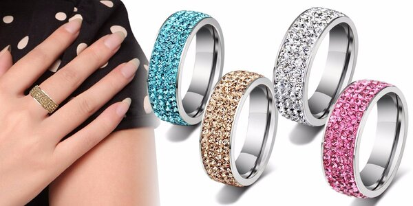 Luxusní ocelový prsten s krystaly