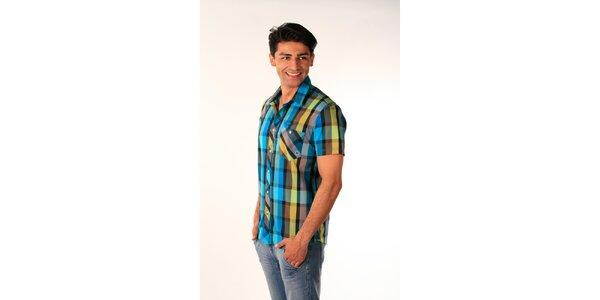 Pánská modro-zelená kostkovaná košile Bestebat