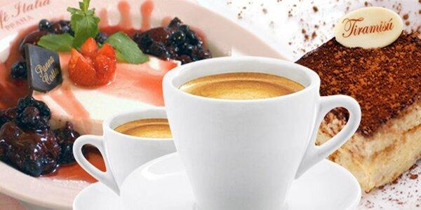 2 teplé nápoje a 2 dezerty v kavárně Caffé Italia
