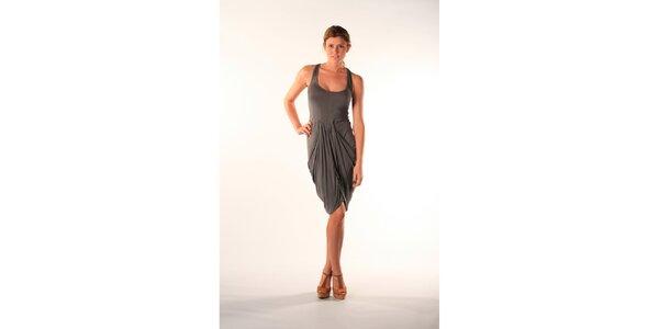 Dámské viskózové khaki šaty s rafinovaně řešenou sukní Beste Bat
