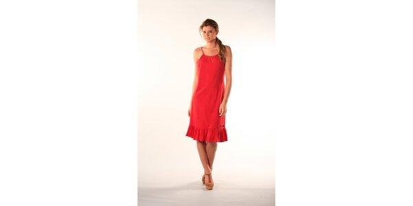 Dámské červené šaty s černým proužkem a volánem Beste Bat