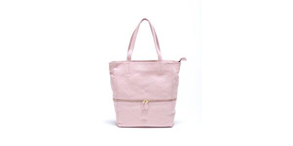 Dámská jemně růžová kožená kabelka Carla Ferrari