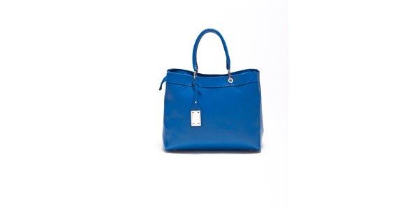 Dámská enziánově modrá kožená kabelka s visačkou Carla Ferrari