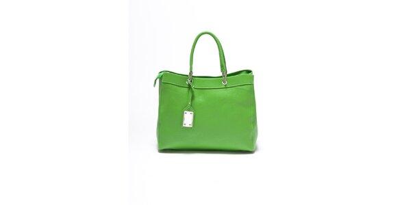 Dámská hráškově zelená kožená kabelka Carla Ferrari