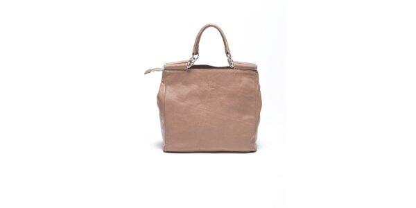 Dámská béžová retro kabelka s popruhem Carla Ferrari