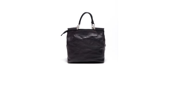 Dámská černá retro kabelka s popruhem Carla Ferrari