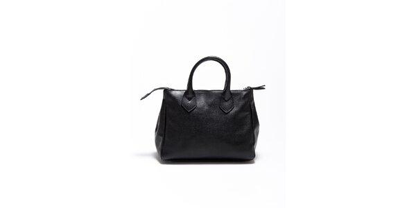 Dámská černá kožená kabelka Carla Ferrari