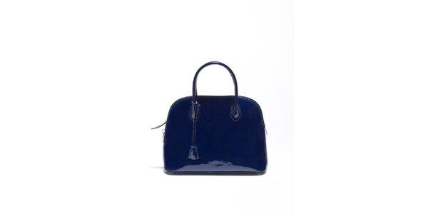 Dámská kobaltově modrá lakovaná kabelka Carla Ferrari