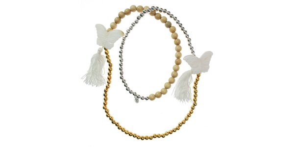 Dámská korálkový náhrdelník Escapulario s motýly