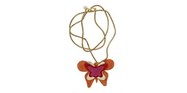 Dámský náhrdelník Escapulario s oranžovým motýlem