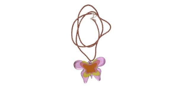 Dámský náhrdelník Escapulario s fialovým motýlem