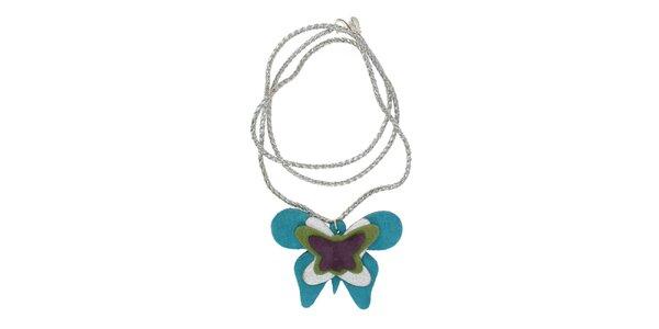 Dámský náhrdelník Escapulario s tyrkysovým motýlem