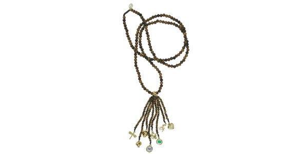 Dámský dřevěný náhrdelník Escapulario se zlatými přívěsky