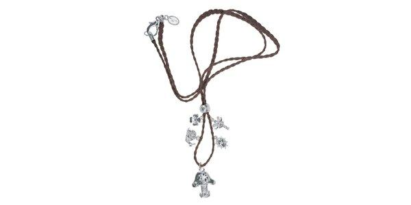 Dámský kožený náhrdelník Escapulario se stříbrnými zvířátky