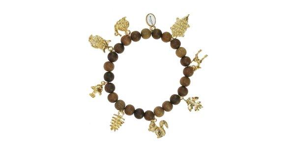 Dámský dřevěný náramek Escapulario se zlatými zvířátky