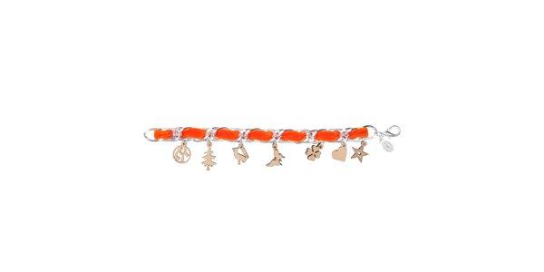Dámský oranžový náhrdelník Escapulario s dřevěnými přívěsky