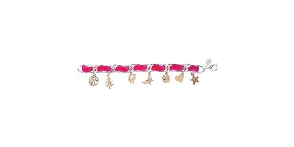 Dámský růžový náhrdelník Escapulario s dřevěnými přívěsky