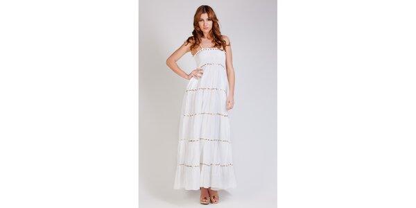 Dámské dlouhé bílé šaty Tonala se zlatými flitry