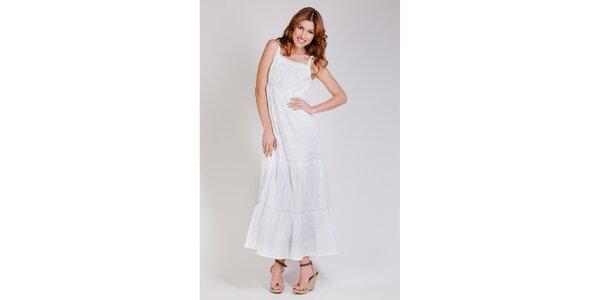 Dámské dlouhé bílé krajkové šaty Tonala