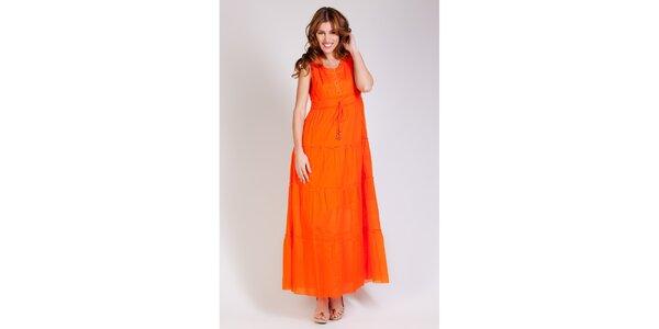 Dámské dlouhé oranžové šaty Tonala
