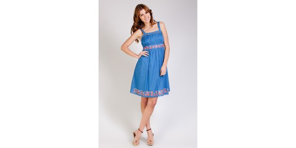 Dámské modré šaty Tonala s výšivkou