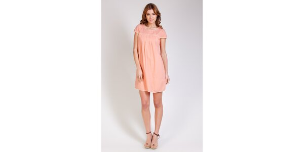 Dámské lososové šaty Tonala s krajkovým lemem
