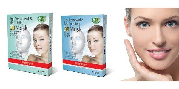 3D pleťové masky Purederm - 2 typy po 3 kusech