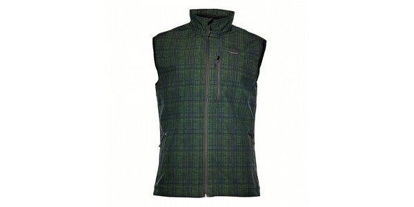 Pánská tmavě zelená softshellová vesta Envy s potiskem