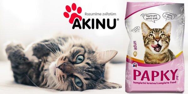 Šest dvoukilových balení kočičího krmiva Papky