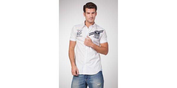Pánská bílá košile s krátkým rukávem a potiskem Bendorff