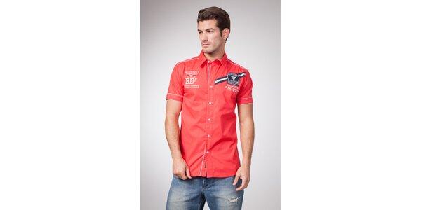 Pánská červená košile s krátkým rukávem a potiskem Bendorff