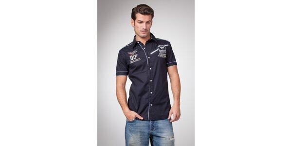 Pánská tmavě modrá košile s krátkým rukávem a potiskem Bendorff