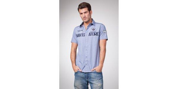 Pánská modrá košile s krátkým rukávem Bendorff