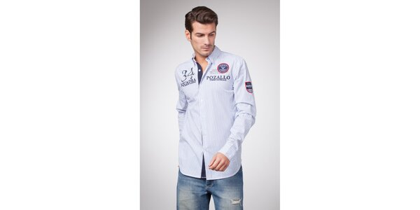 Pánská modro-bílá proužkovaná košile s dlouhým rukávem a výrazným potiskem…