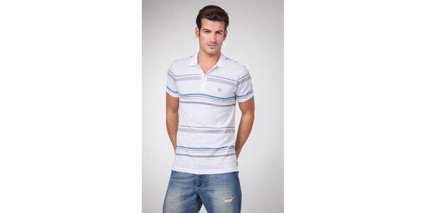 Pánské bílé polo tričko s šedými a modrými proužky Bendorff