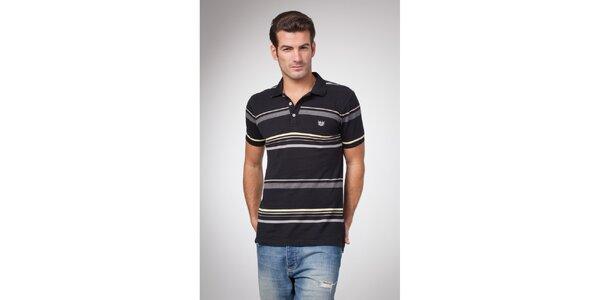 Pánské černé polo tričko s šedými a žlutými proužky Bendorff