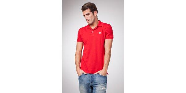 Pánské červené polo tričko s bílými knoflíky Bendorff