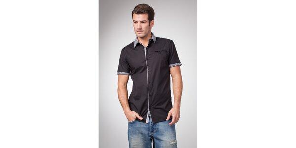 Pánská černá košile s krátkým rukávem a proužkovanými detaily Bendorff