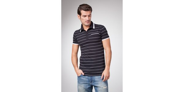 Pánské černé polo tričko s bílými proužky Bendorff