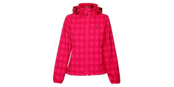 Dámská růžová kostkovaná softshellová bunda Envy