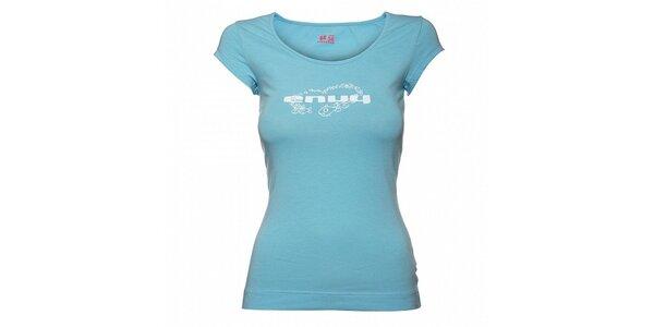 Dámské světle modré tričko Envy s bílým potiskem