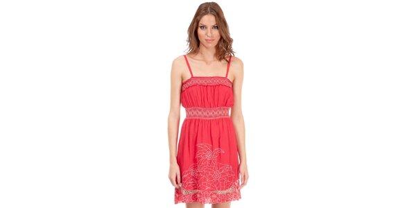 Dámské růžové šaty Rosalita McGee s květinovou výšivkou