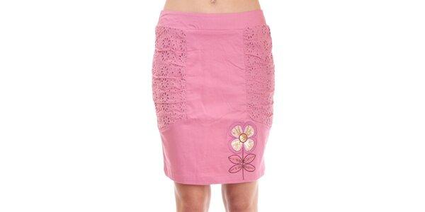 Dámská růžová krajková sukně Rosalita McGee s květinovým motivem