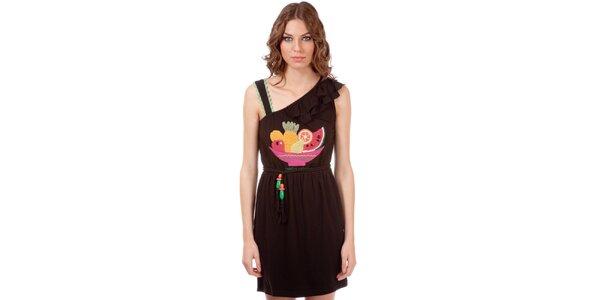 Dámské hnědé šaty s volánem a ovocným potiskem Rosalita McGee