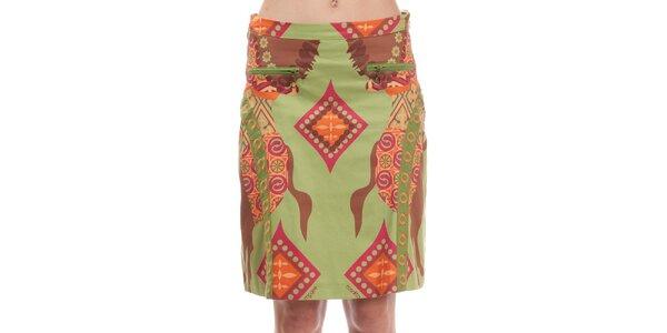 Dámská zelená sukně s potiskem koníků Rosalita McGee