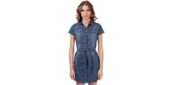 Dámské džínové propínací šaty s vyšívanou aplikací Rosalita McGee