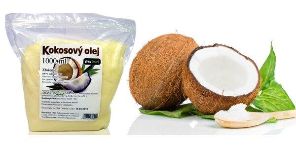 Litr 100% přírodního kokosového oleje do kuchyně i koupelny